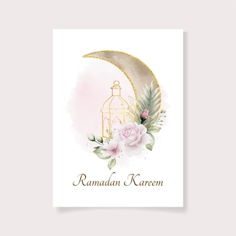 Schöne aquarell ramadan vorlage