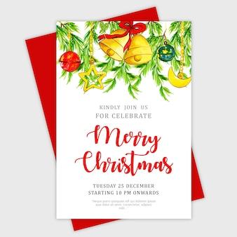 Schöne aquarell weihnachtsgrußkarte