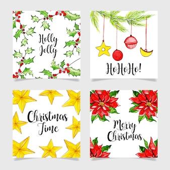 Schöne aquarell weihnachtskarten sammlung