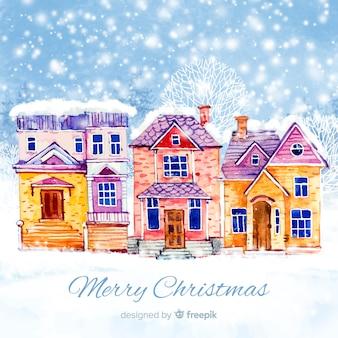 Schöne aquarell weihnachtsstadt