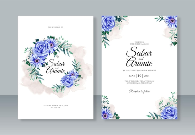 Schöne aquarellblume für hochzeitseinladungsschablone