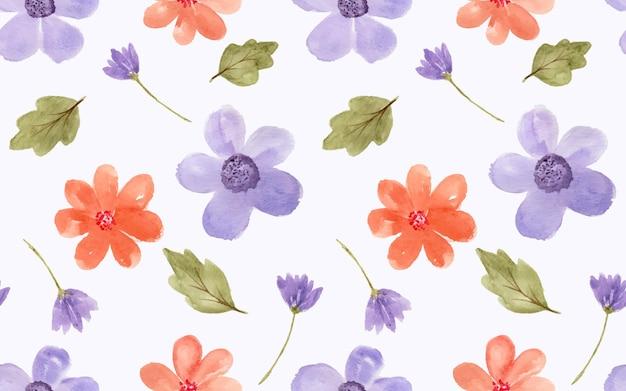 Schöne aquarellblumen als nahtloses muster