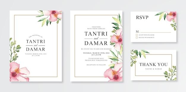 Schöne aquarellblumen und -blätter für hochzeitseinladungskartenschablone