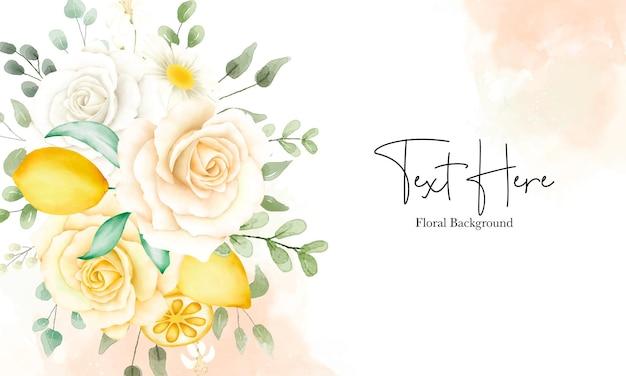 Schöne aquarellblumen und blätter mit botanischem zitronenfruchthintergrund