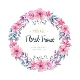 Schöne aquarellblumenblumen-kreis-rahmen-weinlese