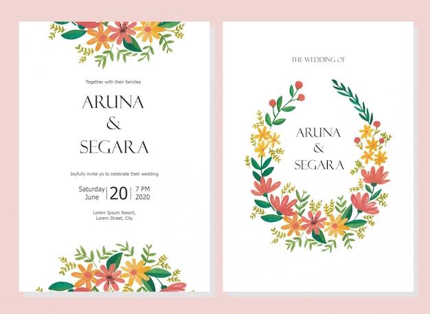 Schöne aquarellblumenhochzeitseinladungssatzkartenschablone