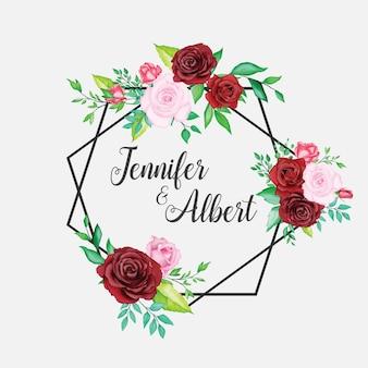 Schöne aquarellblumenhochzeitskartenschablone