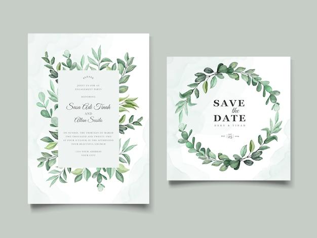 Schöne aquarellblumenkranz-einladungskarte, speichern sie das datum