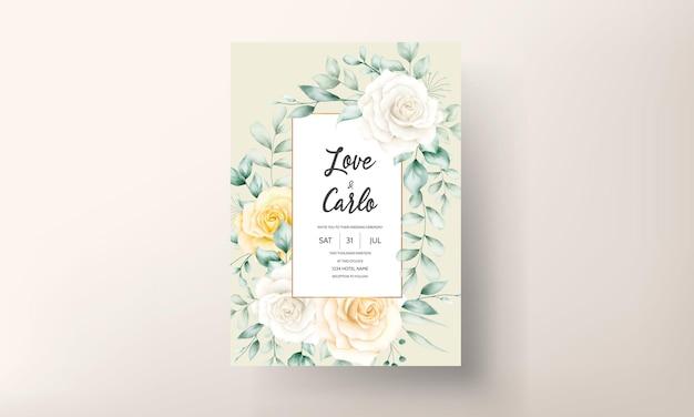Schöne aquarellblumenrahmenhochzeitseinladungskarte mit weicher natur