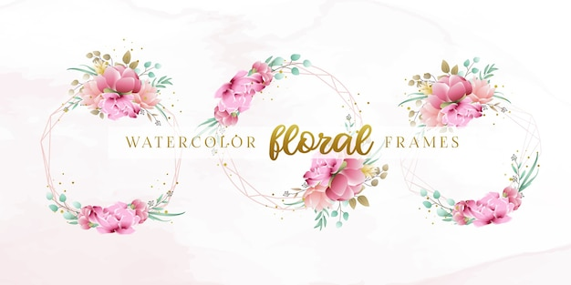Schöne aquarellblumenrahmenschablone