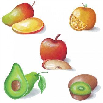 Schöne aquarellillustration von 5 süßen und sauren früchten.