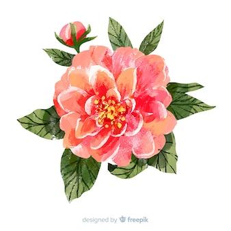 Schöne aquarellkorallenblume