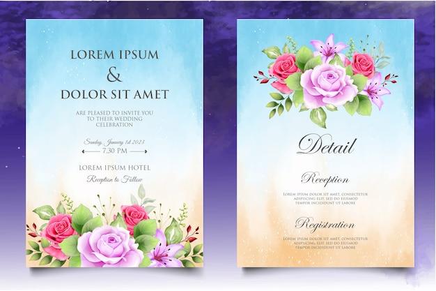 Schöne aquarellrosen-einladungskartenschablone