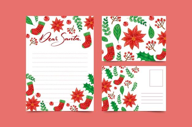 Schöne aquarellweihnachtsbriefpapierschablone