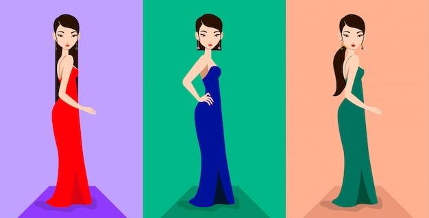 Schöne asiatische weibliche modelle in eleganten kleidern