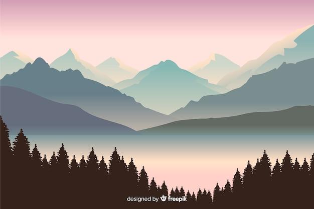 Schöne aussicht mit berglandschaft