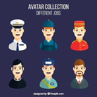Schöne avatare mit vielfältigen arbeitsplätzen