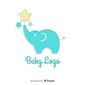 Schöne baby logo vorlage mit flacher bauform