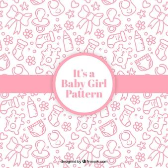 Schöne baby-muster mit rosa artikel