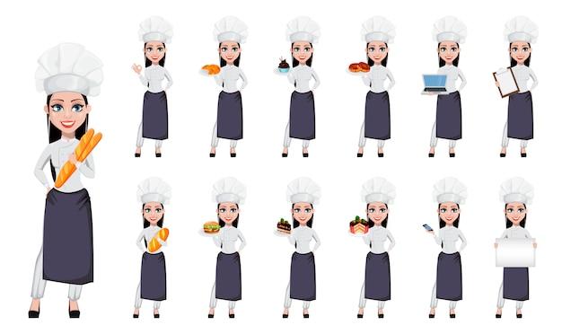 Schöne bäckerfrau in der berufsuniform