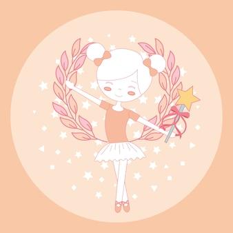 Schöne ballerina ballett mit zauberstab