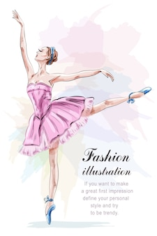 Schöne ballerina, die im rosa kleid der mode tanzt