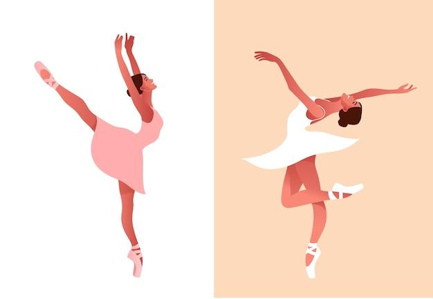 Schöne ballerina flache satzillustration. schönheit des klassischen balletts. junge anmutige balletttänzerin, die tutu trägt. spitzenschuhe, pastellfarben.