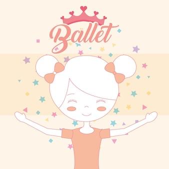 Schöne ballerina in brötchen haarkrone ballett