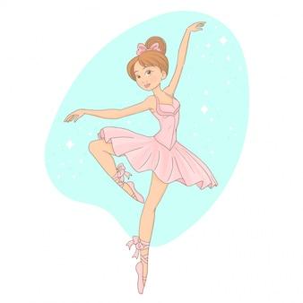 Schöne ballerina wirft auf und tanzt in rosa ballettröckchen