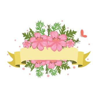 Schöne band-fahnen-blumenblumen-hochzeit dekorativ