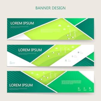 Schöne banner setzen schablonendesign mit geometrischen elementen
