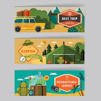 Schöne banner setzen schablonendesign mit reiseelementen
