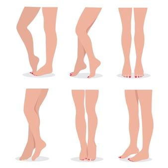 Schöne beine und füße der eleganten frau in den verschiedenen haltungen lokalisierten satz