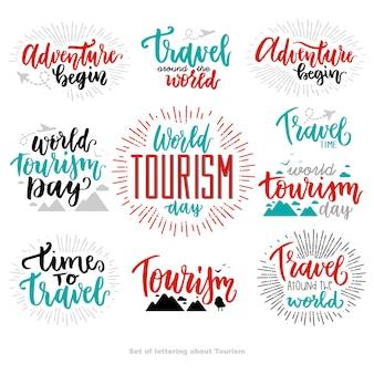 Schöne beschriftung für den tourismus tag.