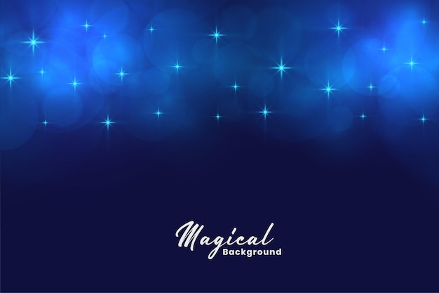 Schöne blaue magische sterne und bokeh beleuchtet hintergrund