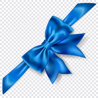 Schöne blaue schleife mit diagonalem band mit schatten auf transparentem hintergrund. transparenz nur im vektorformat