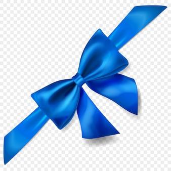 Schöne blaue schleife mit diagonalem band mit schatten, isoliert auf transparentem hintergrund. transparenz nur im vektorformat