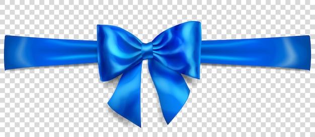 Schöne blaue schleife mit horizontalem band mit schatten auf transparentem hintergrund
