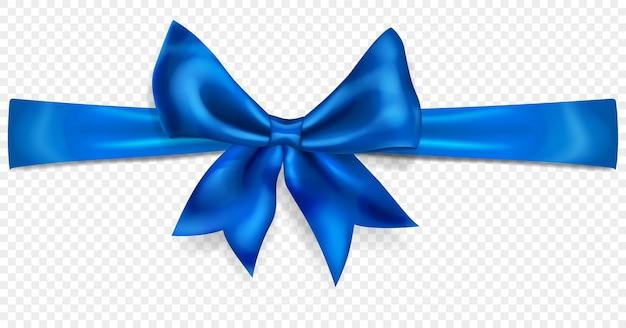 Schöne blaue schleife mit horizontalem band mit schatten, isoliert auf transparentem hintergrund. transparenz nur im vektorformat