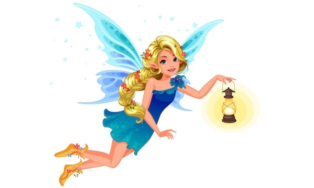 Schöne blonde blaue flügelfee, die eine laterne hält