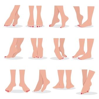 Schöne bloße frauenfüße und -beine lokalisiert, attraktiver schönheitssatz der weiblichen körperteile