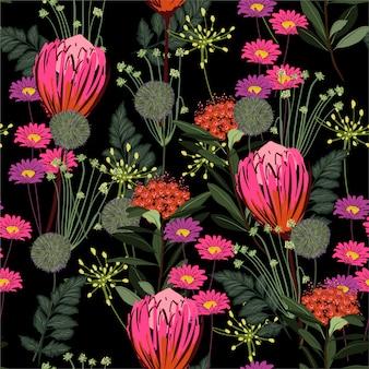 Schöne blühende gartennacht mit vieler art blumenprotea und buntem nahtlosem mustermit blumenvektor der wiesen, design für mode, gewebe, tapete, verpackung und alle art drucke