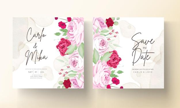 Schöne blühende rose und pfingstrosenblume hochzeitseinladungskarte
