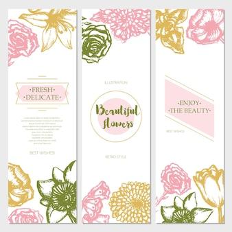 Schöne blumen - dreiteilige farbvektorhand gezeichnete quadratische vorlagenkarte mit exemplar. realistische rose, maiglöckchen, tulpe, gänseblümchen, iris, lilie, chrysantheme, nelke, mohn, narzisse.
