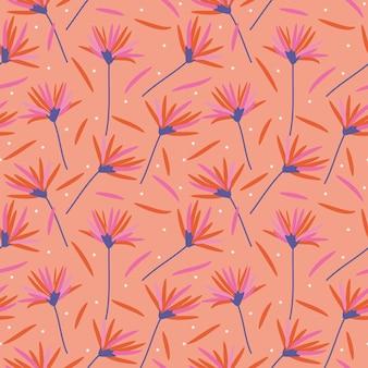 Schöne blumen im nahtlosen muster der korallenroten farben.