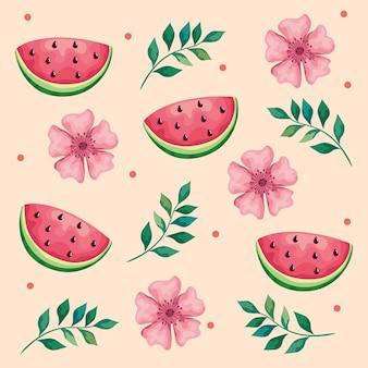 Schöne blumen und blätter mit wassermelonenmusterillustration