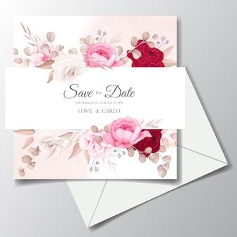 Schöne blumen- und blätterhochzeitseinladungskarte