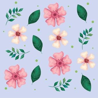 Schöne blumen weiß und rosa mit blattmusterillustration