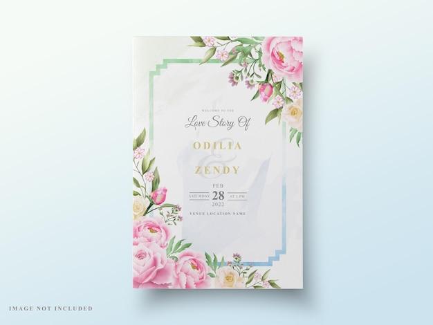 Schöne blumenaquarellhochzeitskarte