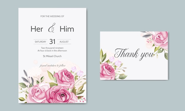 Schöne blumenblätter, die einladungskartenschablone heiraten